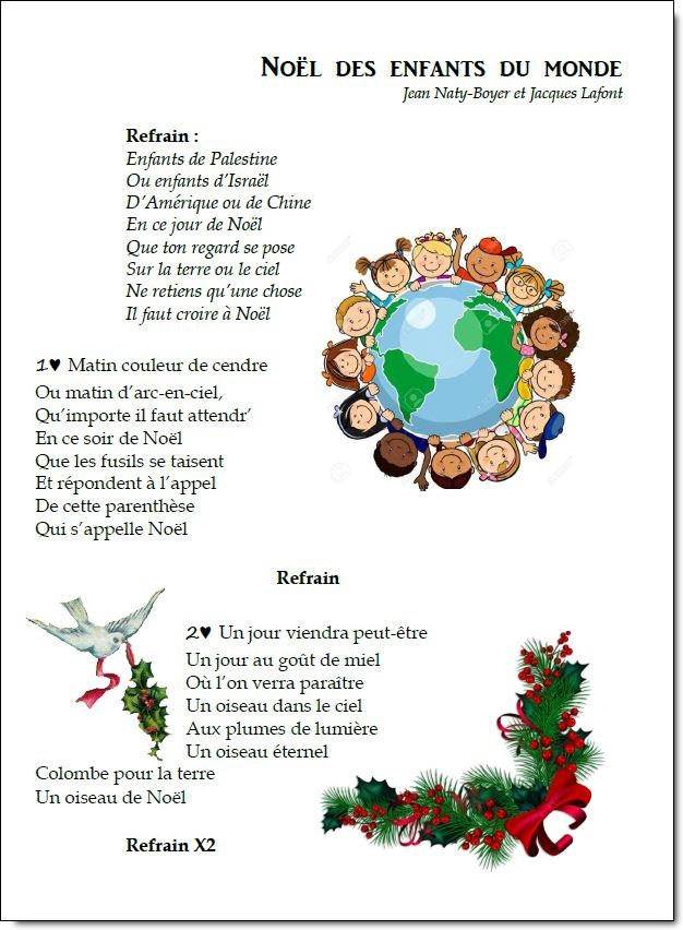 Image Ou Photo De Noel.Chanson De Noel Du Monde