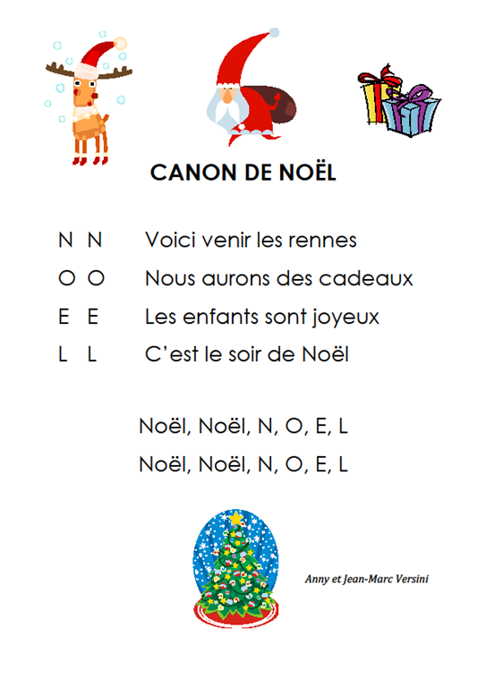chant de noel anglais cycle 1